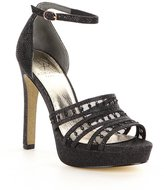 Adrianna Papell Morgan Crystal-Embellished Metallic Mesh Dress Sandals