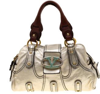 Valentino Metallic Gold Leather Crystal Catch Satchel