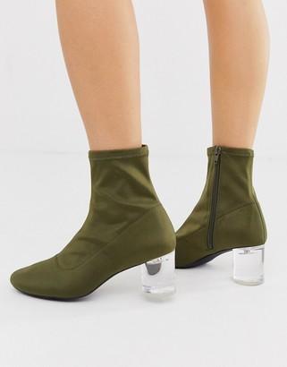 London Rebel neoprene sock boots in khaki
