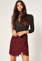 Missguided Burgundy Wrap Lace Mini Skirt