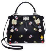 Fendi Peekaboo Mini Embellished Floral-Embroidered Leather Satchel