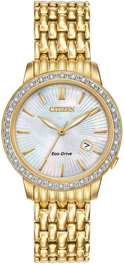 Citizen 29mm Yellow Golden Bracelet Watch w/ Diamond Bezel