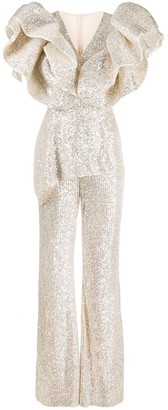 Loulou Sequin Ruffle Jumpsuit