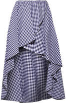 Caroline Constas Adelle Ruffled Gingham Cotton-poplin Skirt - Navy