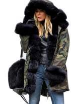Roiii Women's Faux Fur Hooded Cotton Padded Sweaters Parka Coat Long Jacket Tops