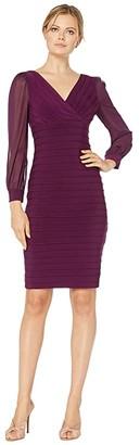 Adrianna Papell Jersey and Chiffon Banded Dress (Shiraz) Women's Dress