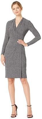 Lauren Ralph Lauren Printed Matte Jersey Faria Long Sleeve Day Dress (Grey/Black) Women's Clothing