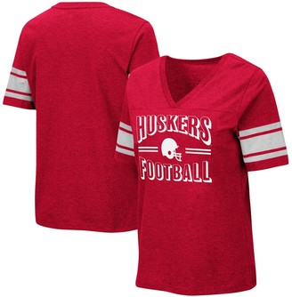 Colosseum Women's Heathered Scarlet Nebraska Cornhuskers Blue Blood Football V-Neck T-Shirt