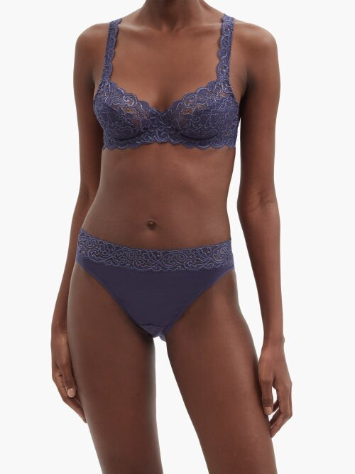 Thumbnail for your product : Hanro Moments Lace-trimmed Briefs - Dark Blue