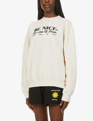 Sporty & Rich Be Nice brand-print cotton-jersey sweatshirt