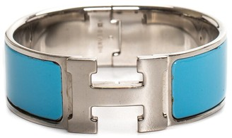 Hermes Palladium Plated & Blue Enamel Wide Clic-Clac H Bangle Bracelet