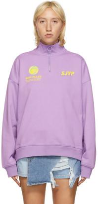Sjyp Purple High Neck Zip-Up Sweatshirt