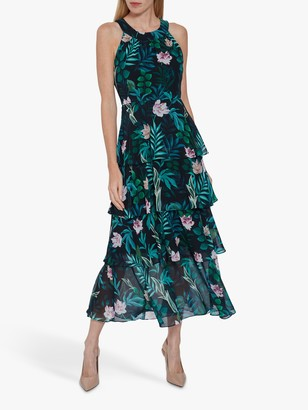 Gina Bacconi Diadama Chiffon Tiered Maxi Dress, Navy