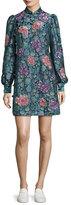 Marc Jacobs Rose Jacquard Long-Sleeve Mini Dress, Black/Multi