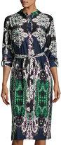 Melissa Masse Boho-Print Belted Shirtdress, Thistle