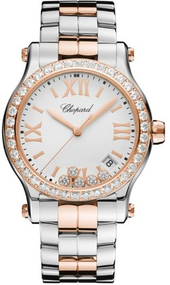 Chopard Rose Gold and Stainless Steel Happy Sport Quartz Watch 36mm