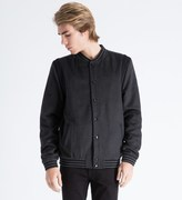 A Question Of Dark Grey Melange Leopard Wool Varsity Jacket