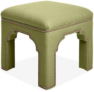 Bunny Williams Home Taj Stool - Apple Green Linen