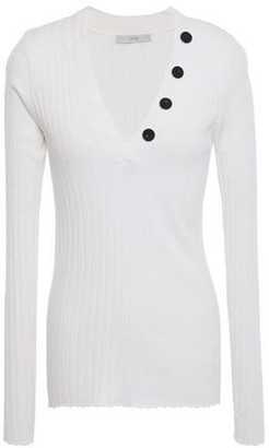 Joie Button-embellished Ribbed-knit Top