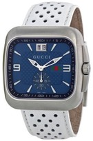 Gucci G-Coupe YA131304 Stainless Steel & Leather Blue Dial Quartz 40mm Mens Watch