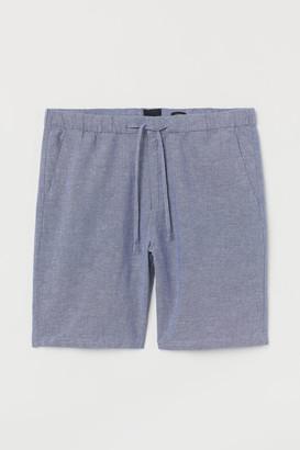 H&M Relaxed Fit Linen-blend Shorts - Blue
