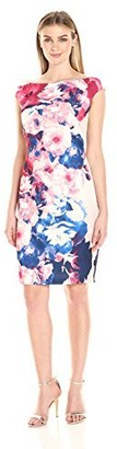Jax Women's Extended Sleeve Boat Neck All Over Floral Print Sheath