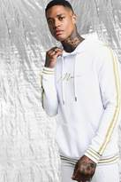 White & Gold MAN Signature Hoodie With Tape