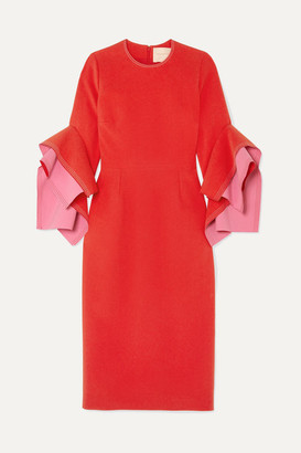 Roksanda Ronda Ruffled Two-tone Crepe Midi Dress - Crimson