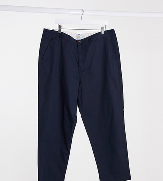 Farah Hawtin loose tapered crop fit trousers in navy