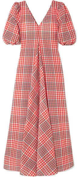 Ganni Checked Cotton-blend Seersucker Maxi Dress - Red