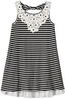 Knitworks Girls 7-16 Crocheted Flower Striped Swing Tank Dress