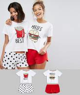 Asos 2 Pack Best Mates Burger & Fries Tee & Short Pajama Sets