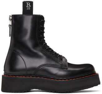 R 13 Black Stacked Platform Boots