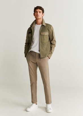 MANGO MAN - Pockets two-tone jacket khaki - S - Men