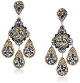 Miguel Ases Gold-Plated, Hematite, and Swarovski Embroidered Chandelier Drop Earrings