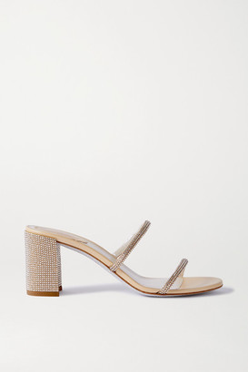 Rene Caovilla Bessie Crystal-embellished Metallic Leather Sandals - Neutral