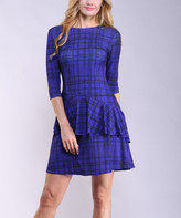 Lbisse Women's Career Dresses Purple - Purple & Navy Abstract Ruffle Three-Quarter Sleeved Dress - Women
