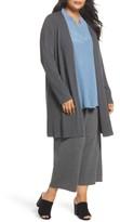 Eileen Fisher Plus Size Women's Long Ribbed Wool Cardigan
