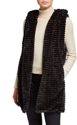Joan Vass Ribbed Faux-Fur Hooded Vest
