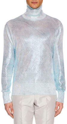 Tom Ford Men's Silvered Knit Silk Sweater