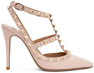 Valentino Pink Garavani Rockstud Cage Heels