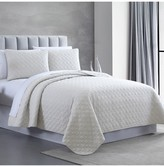 Modern Threads Queen Enzyme Washed Diamond Link Quilted Coverlet 3-Piece Set - White