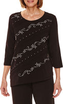 Alfred Dunner Casual Friday 3/4 Sleeve Embellished T-Shirt-Petites