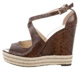 Brian Atwood Embossed Snakeskin Wedge Sandals
