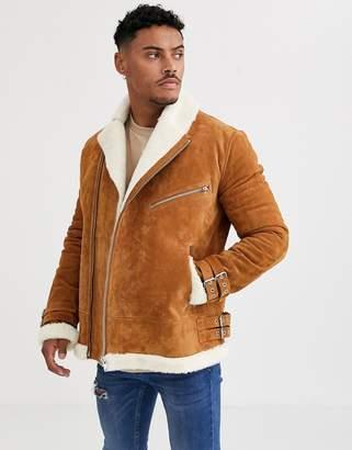 Asos Design DESIGN suede aviator jacket with fur lining in tan