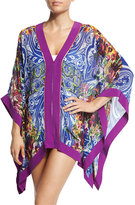 Etro Paisley Mixed-Print Short Caftan Coverup