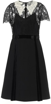 Gucci Lace-trimmed wool crepe dress