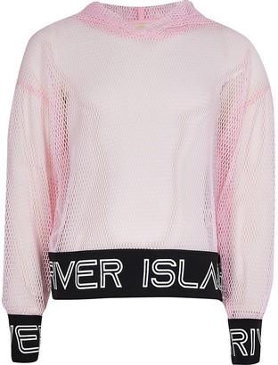 River Island Girls pink active mesh hoodie