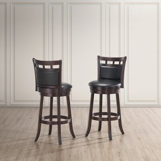 Charlton Homeâ® Taz Swivel Counter Stool Charlton HomeA Seat Height: Counter Stool (24a Seat Height), Color: Dark Cappuccino