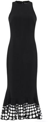 David Koma Fluted Embellished Stretch-cady Midi Dress
